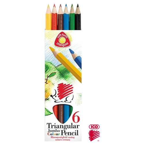 ICO TRIANGULAR JUMBO COL. PENCIL SET 6