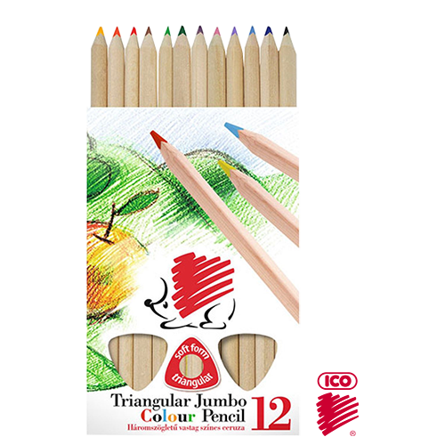 ICO TRIANGULAR WOODY JUMBO COL. PENCIL SET 12
