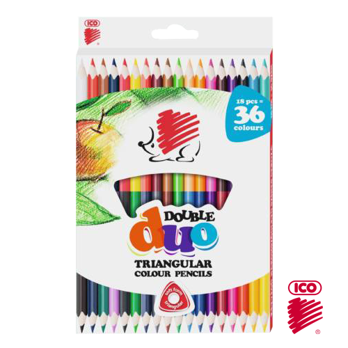 ICO DOUBLE DUO TRIANGULAR COLOR PENCIL SET 24
