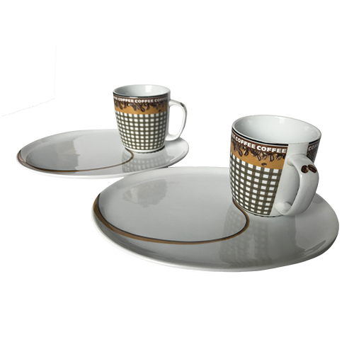 11451 COFFEE BEAN MUG WITH PLATE