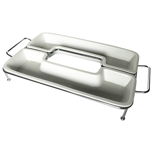 1652 RECTANGULAR TRAY WITH METAL STAND